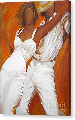 Canvas Print featuring the painting Tango Blanco by Sheri  Chakamian