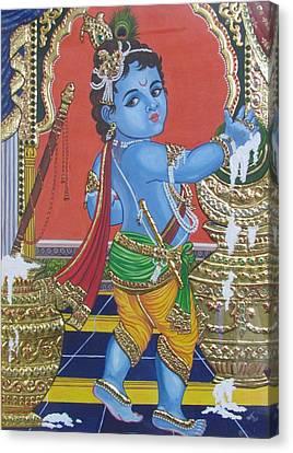 Tanjore Baby Krishna  Canvas Print