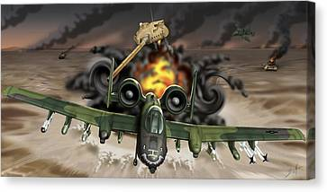 Tank Plinking With The A-10 Canvas Print by Barry Munden