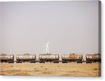 Tanker Cars And Wind Farm Canvas Print by Ashley Cooper