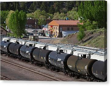Rail Siding Canvas Print - Tanker Cars At Rail Yard by Jim West