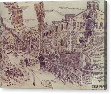 Ww Ii Canvas Print - Tanks At St Lo France by David Neace