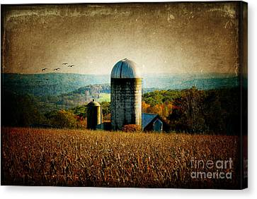Tanner Hill Farm In The Fall Connecticut Usa Canvas Print by Sabine Jacobs