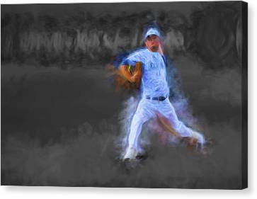 Tanner Tully Elkhart Central Blazers Pitches The Winning Game Champs 2013 Canvas Print by David Haskett