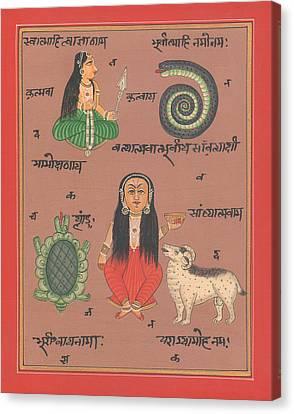 Tantra Yantra Artwork Miniature Painting India Vedic Artwork Goddess Santoshi Ma Canvas Print by A K Mundhra
