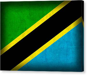 Tanzania Flag Distressed Vintage Finish Canvas Print
