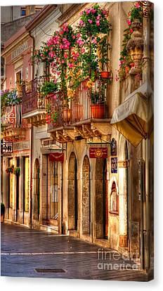 Taormina Balcony Canvas Print by Michael Berry