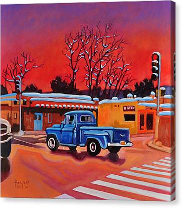 Canvas Print featuring the painting Taos Blue Truck At Dusk by Art West