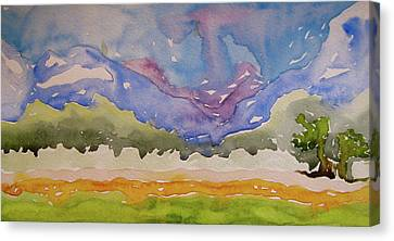Canvas Print featuring the painting Taos Fields by Beverley Harper Tinsley