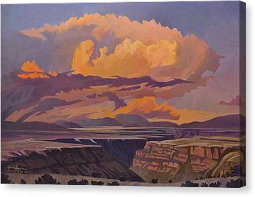 Canvas Print featuring the painting Taos Gorge - Pastel Sky by Art James West