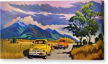 Canvas Print featuring the painting Taos Joy Ride With Yellow And Orange Trucks by Art West