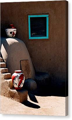 Canvas Print featuring the photograph Taos New Mexico Pottery by Jacqueline M Lewis