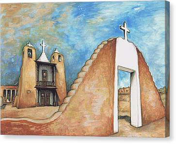 Taos Pueblo New Mexico - Watercolor Art Canvas Print by Art America Gallery Peter Potter