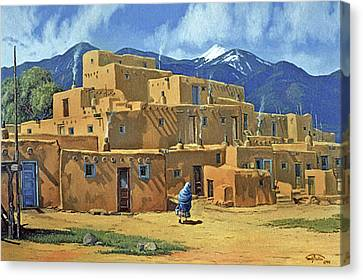 Southwest Canvas Print - Taos Pueblo by Randy Follis