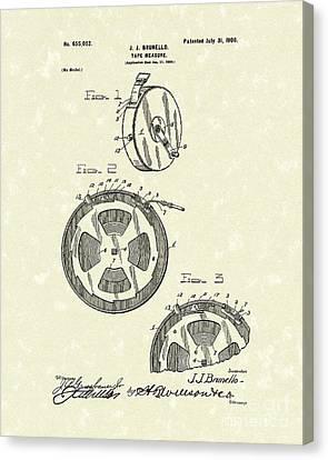 Brunello Canvas Print - Tape Measure 1900 Patent Art by Prior Art Design