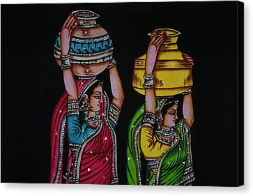 Tapestries - Textiles Canvas Print - Tapestry Depicting Indian Girls by Keren Su