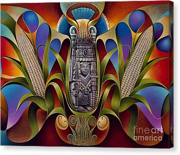Tapestry Of Gods - Chicomecoatl Canvas Print by Ricardo Chavez-Mendez