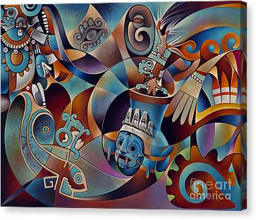 Tapestry Of Gods - Tlaloc Canvas Print by Ricardo Chavez-Mendez