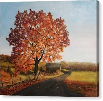 Taras Golden Tree Canvas Print by Sandra Nardone