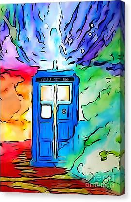 Tardis Illustration Edition Canvas Print by Justin Moore