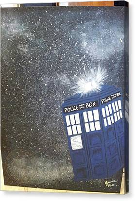 Tardis In Space Canvas Print by Jessica Vass