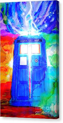 Tardis Canvas Print by Justin Moore