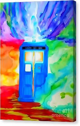 Tardis Watercolor Edition Canvas Print by Justin Moore