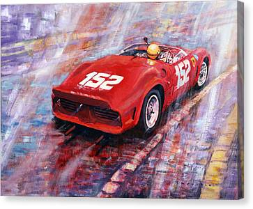 Targa Florio 1962 Ferrari Dino 246 Sp R Rodrigues  Canvas Print by Yuriy Shevchuk