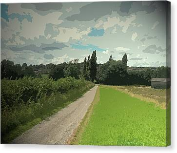 Tarmac Path Heading Into Ockbrook, Overlooking The Village Canvas Print by Litz Collection