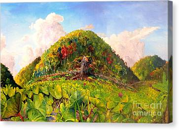Canvas Print featuring the painting Taro Garden Of Papua by Jason Sentuf