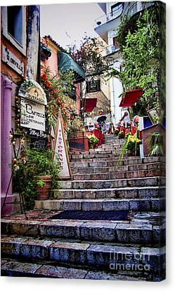 Sicily Canvas Print - Taormina Steps Sicily by David Smith