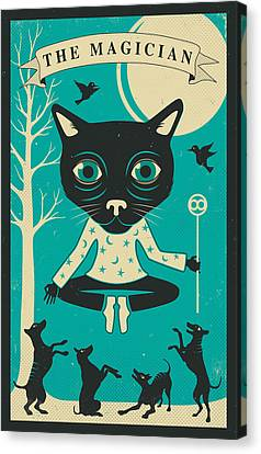 Tarot Card Cat The Magician Canvas Print by Jazzberry Blue