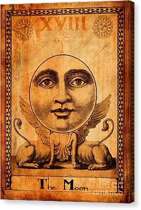 Tarot Card The Moon Canvas Print