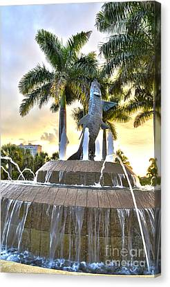 Tarpon Fountain In Cape Coral Florida Canvas Print by Timothy Lowry