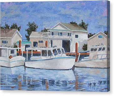 Canvas Print featuring the painting Tarpon Springs Boats Iv by Tony Caviston