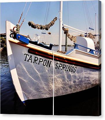 Greek Icon Canvas Print - Tarpon Springs Spongeboat by Benjamin Yeager