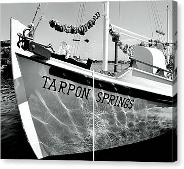 Greek Icon Canvas Print - Tarpon Springs Spongeboat Black And White by Benjamin Yeager