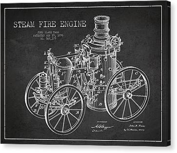 Tarr Steam Fire Engine Patent Drawing From 1896 - Dark Canvas Print