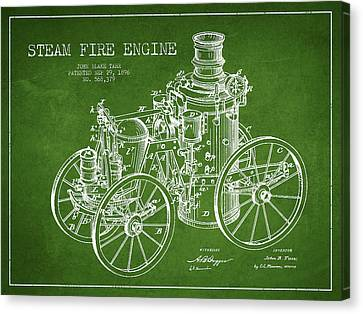 Tarr Steam Fire Engine Patent Drawing From 1896 - Green Canvas Print