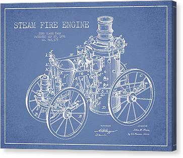Tarr Steam Fire Engine Patent Drawing From 1896 - Light Blue Canvas Print