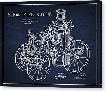 Tarr Steam Fire Engine Patent Drawing From 1896 - Navy Blue Canvas Print