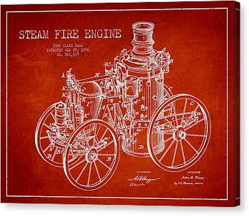 Tarr Steam Fire Engine Patent Drawing From 1896 - Red Canvas Print