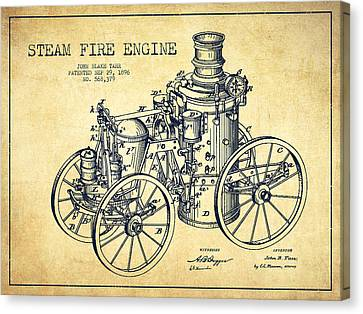 Tarr Steam Fire Engine Patent Drawing From 1896 - Vintage Canvas Print