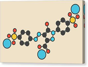 Tartrazine Food Dye Molecule Canvas Print by Molekuul