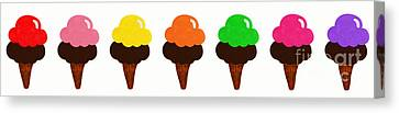 Tasting Canvas Print - Taste The Ice Cream Rainbow by Andee Design