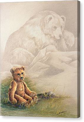 Canvas Print featuring the drawing Tattered Bear by Judi Quelland