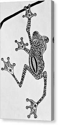 Tattooed Tree Frog - Zentangle Canvas Print by Jani Freimann