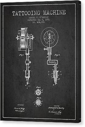 Tattooing Machine Patent From 1891 - Charcoal Canvas Print by Aged Pixel