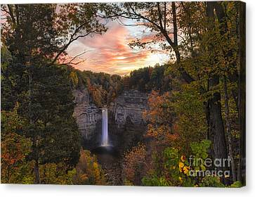 Taughannock Falls Autumn Sunset Canvas Print by Michele Steffey