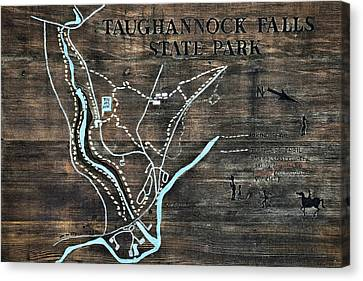Taughannock Falls State Park Trail Map Sign Canvas Print by Christina Rollo